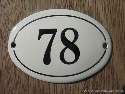 Small Antique Style Enamel Door Number 78 Sign Plaque House Number Furnituresign