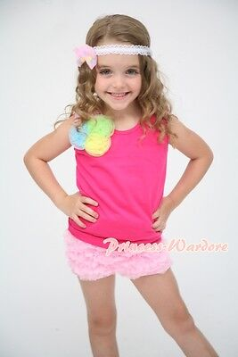 Bunch of Rosette Hot Pink Top Light Pink Pettipants Ruffle Bloomer Pant Set 1-8Y