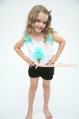 Aqua Blue Zebra Ice cream Ruffle Bow Top Black Ruffle Pettipant Pants Set 1-8Y