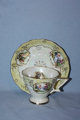 Discont. Lefton Opalescent Victorian Cup & Saucer