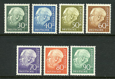 1956-1957 Germany SC 755-761 MI 179-186 MNH President Heuss, Complete Set of 7*