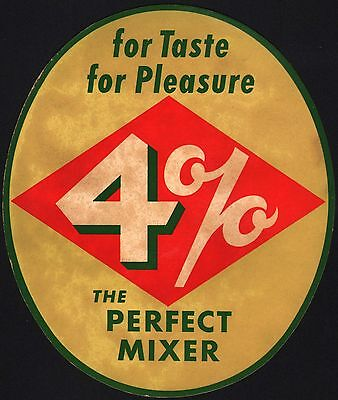 Vintage soda pop decal 4% The Perfect Mixer dated 1953 unused new old stock exc+