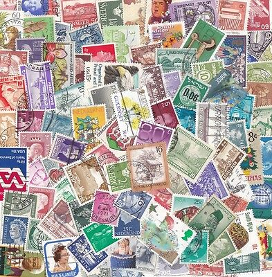100 All Different WORLD Stamps OFF PAPER nice!