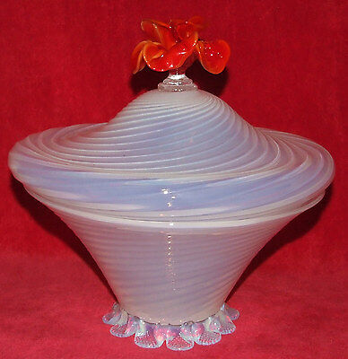 Antique Huge Venetian Murano Blown Art Glass Opalescent Swirl Bowl W/ Rose Lid