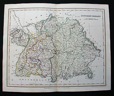 1826 ORR - DOWER: rare Map of Southern Germany, Deutschland, Germania del Sud...