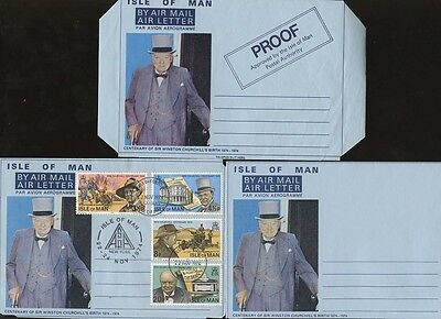 ISLE of MAN 1974 CHURCHILL AIRLETTERS + PROOF MINT + USED...3 ITEMS