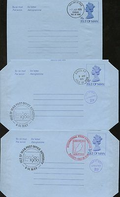 ISLE of MAN STATIONERY 12 ITEMS 1974-80 AIRLETTERS USED COLLECTION + POSTMARKS