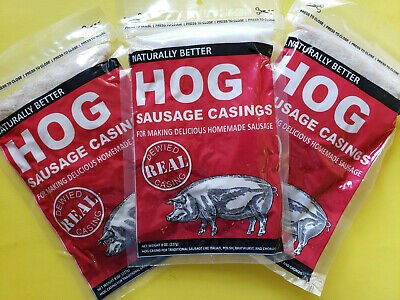(3) PACKS Natural Hog Pork Sausage Casings Stuffing for Links Brats etc