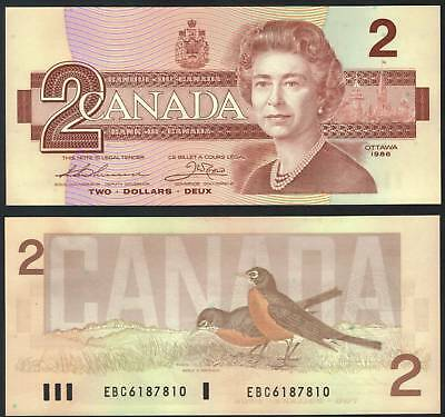 TMM* Canada Bank Note QEII Two Dollars 1986 Thiesen/Crow P94b Unc