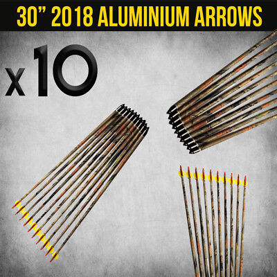 "10X 30"" Aluminium Camo Arrows For Compound Or Recurve Bow Target Archery New"