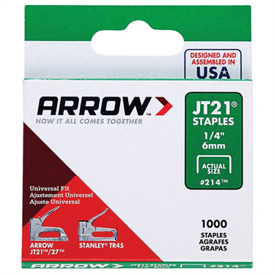Arrow Fastener JT21 T27 6mm (1/4 inch) Staples Box of 1000 #214