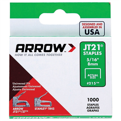 Arrow Fastener JT21 T27 8mm (5/16inch) Staples Box of 1000 #215