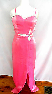 Vintage Alyce Designs Long Bubble Gum Pink Dress Embellished Rhinestones Sz 8