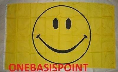 3'x5' HAPPY SMILEY FACE FLAG OUTDOOR BANNER HUGE SMILY YELLOW PARTY FUN CUTE 3X5