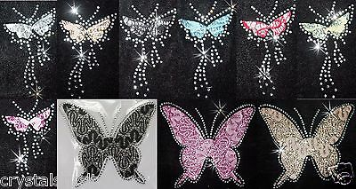 Lace Net Rhinestone Butterfly Iron-On Hotfix Diamante Bead Tshirt Transfer