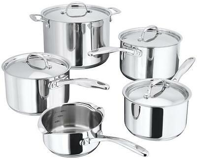 Stellar 7000 5 Piece Pan Set-Stainless Steel- Casserole Suitable for Aga Rayburn