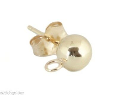 New Ladies 4mm 14k Gold Ball Stud Post Earrings With Loop And Push Backs