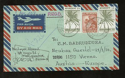 BANGLADESH REGISTERED 1976 to AUSTRIA AIRMAIL...TEMPORARY PO POSTMARK