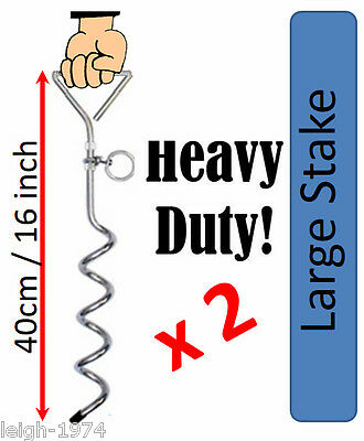 2 x Heavy Duty Auger Ground Anchor 400mm Ideal for Swings Frames Trampoline