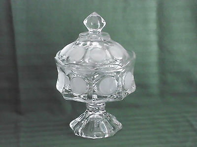 Fostoria Crystal Clear with Frosted Coin Ware Glass Covered Compote Bride's Bowl