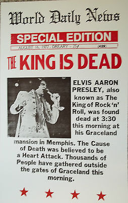 Elvis The King is Dead World Daily News Poster