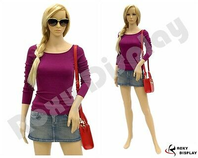 Female Mannequin Plastic Realistic Display Head Turns Dress Form G4 + FREE WIG
