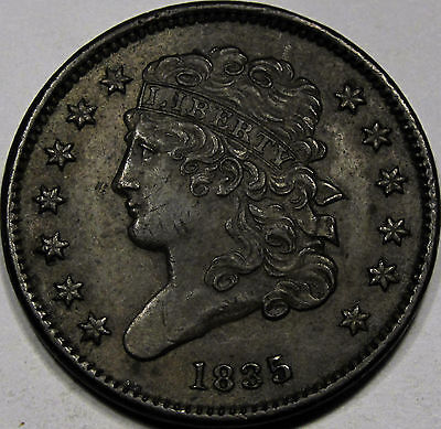 1835 Classic Head Half Cent Choice AU-BU... 100% Original and so Very NICE, PQ!!