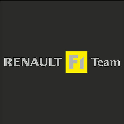 1 x Renault F1 Team Sticker Decal New Style - SILVER TEXT (Clio, megane, sport)