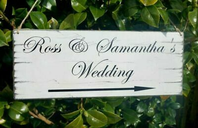 WEDDING THIS Way Sign Vintage Direction Sign Personalised Shabby ...