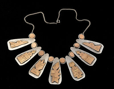 Vintage Rare Handmade Peruvian 18k / Sterling Silver Necklace Accented 7 Totems