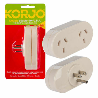 KORJO Double Travel Plug Adaptor from AU AUS/NZ to USA &CANADA Converter Charger