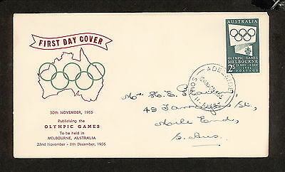 FDC 1955   2/- GREEN OLYMPICS First Day Cover Adelaide (3981.44)