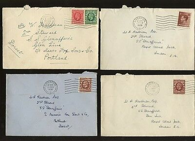 GB KG5 + KE8 1936 DOMESTIC 1 1/2d RATE 7 COVERS LIVERPOOL to SHIP SS GLENAFFARIC