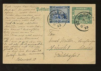 SAAR 1923 STATIONERY CARD UPRATED ST INGBERT GERMAN INFLATION PERIOD OCT toSWISS