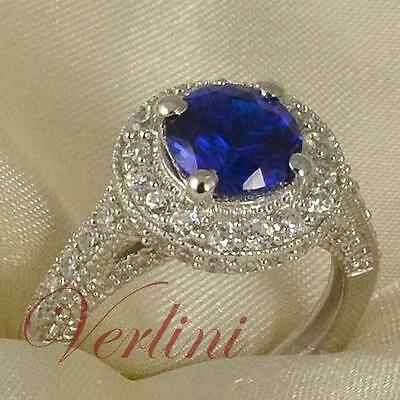 2.75 Ct Round Brilliant Cut Womens Silver Ring Blue Sapphire Simulated Size 5-10