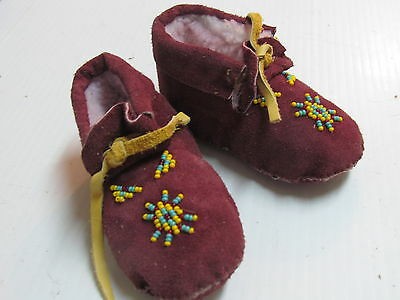 Native American  Beaded Maroon  Moccasins, 5 Inches, Unisex,cozy Warm, ,