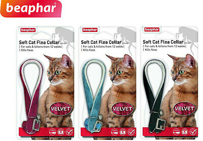 Beaphar Velvet Soft Cat Flea Collar 12 Week Protect 3 Colours With Bell 17805