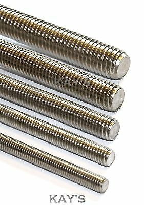 FULLY THREADED ROD/BAR/STUDDING/ALLTHREAD M2.5,3,4,5,6,8,10mm A2 STAINLESS STEEL