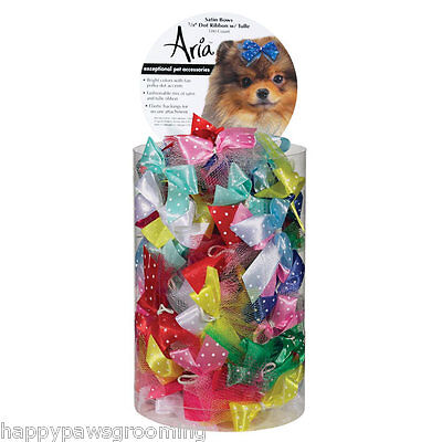 Multi Color DOG Grooming SATIN Ribbon DOT w/TULLE HAIR 100 BOWS w/Rubber Band