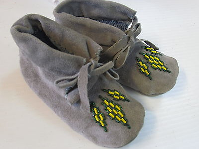 Native American  Beaded  Moccasins,5 Inches,toddler,unisex,cozy Warm, Gray