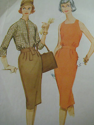Vintage McCalls 5284 BLOUSED BODICE DRESS w/ SQUARE NECK Sewing Pattern Women