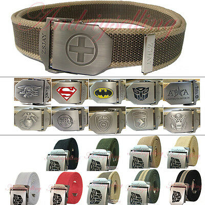 Stainless Steel Buckle Military Army Style Mens Womens Sports Web Canvas Belt L