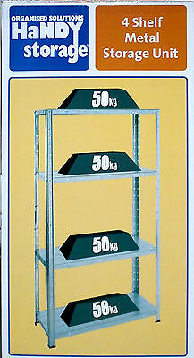 4 Shelf Metal Storage Unit - galvanised steel shelves 50kg each