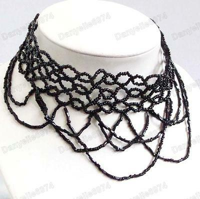 BLACK GOTHIC CHOKER necklace moulin rouge BEADED victorian vintage style GOTH