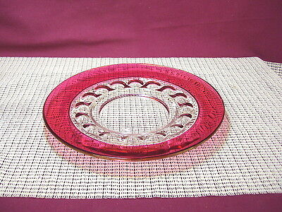 Vintage Colony Crystal Ruby Crown Ruby Flashed Luncheon Plate