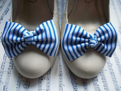 Pair White Royal Blue Stripe Fabric Bow Shoe Clips Nautical Sailor Retro Style