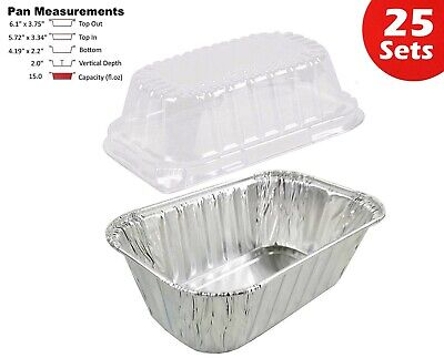 1 lb. Aluminum Foil Mini-Loaf Pan w/Clear Dome Lid 25PK - Disposable Containers