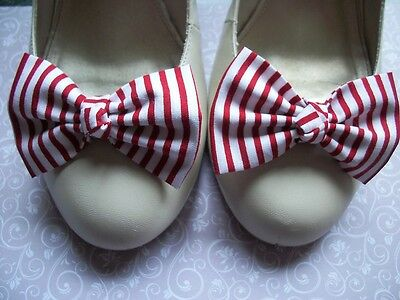 Pair Red White Stripe Cotton Fabric Bow Shoe Clips Nautical Girl Vintage Style
