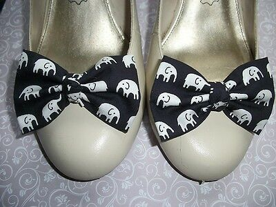 Pair Black White Elephant Print Cotton Fabric Bow Shoe Clips Novelty Retro