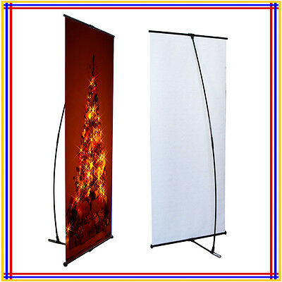 "L Banner Stand W32""xH80"" with Free 13Oz Vinyl Banner Printing L200"